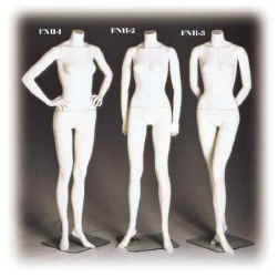 Female headless mannequins in your choice of cameo white or fleshtone in three poses.