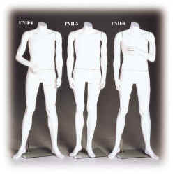 Male headless mannequin in cameo white or fleshtone color is also available in three poses.